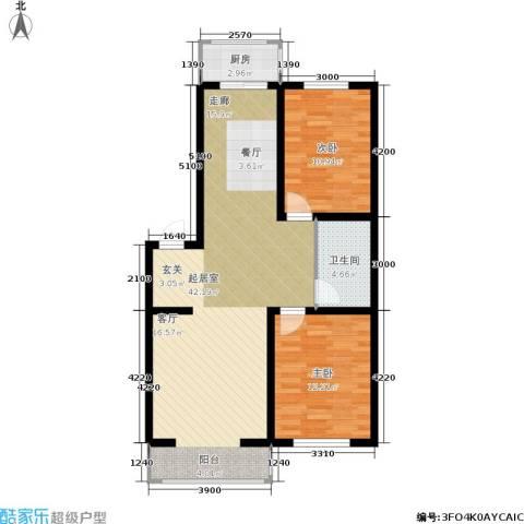 新水湾河畔花园2室0厅1卫1厨93.00㎡户型图