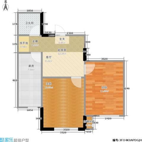思和苑2室0厅1卫1厨64.00㎡户型图