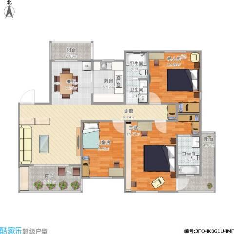 欧洲城3室1厅3卫1厨129.00㎡户型图