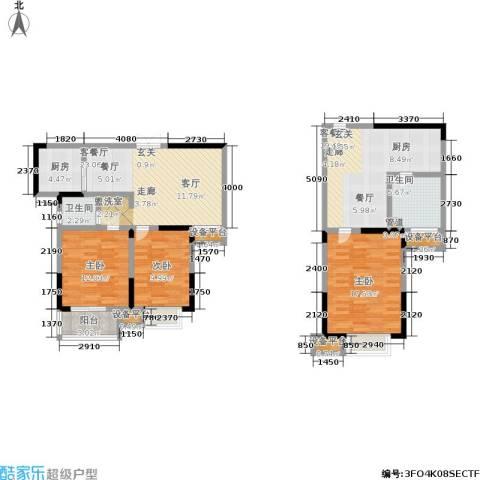 滨河御景3室2厅2卫1厨148.00㎡户型图