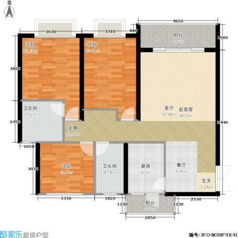贵格・和顺苑3室0厅2卫1厨99.04㎡户型图