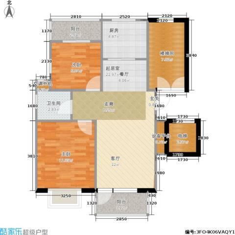 通济名仕阁2室0厅1卫1厨73.00㎡户型图