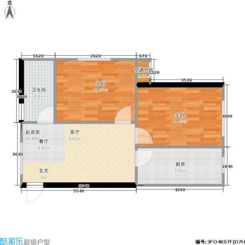 思和苑2室0厅1卫1厨68.00㎡户型图