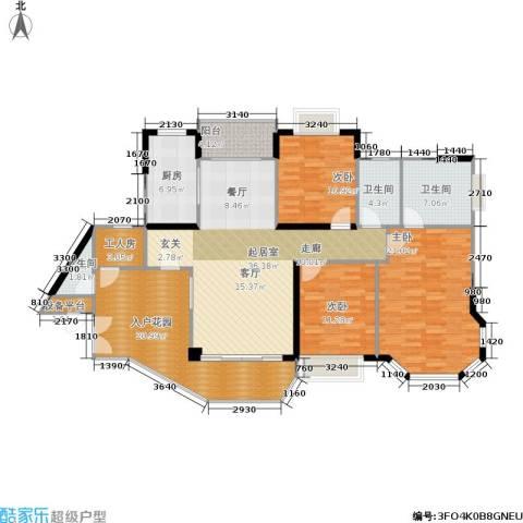 恒大绿洲3室0厅3卫1厨142.00㎡户型图