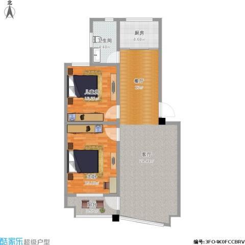 紫荆苑2室1厅1卫1厨108.00㎡户型图