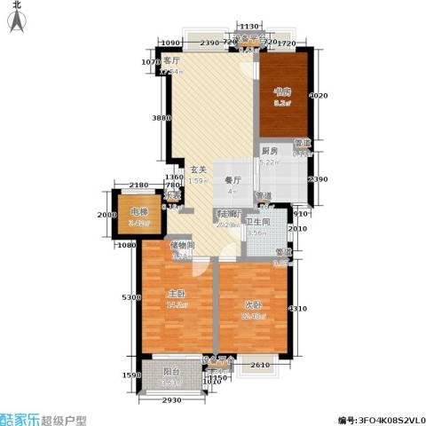 金基月亮湾3室1厅1卫1厨121.00㎡户型图