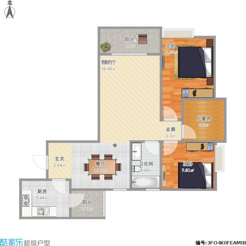两室两厅带院馆81.47方