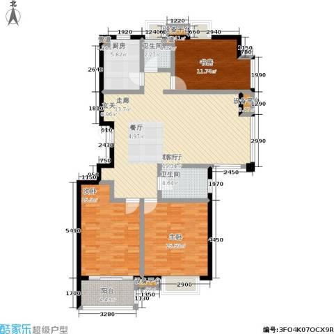 金基月亮湾3室1厅2卫1厨146.00㎡户型图