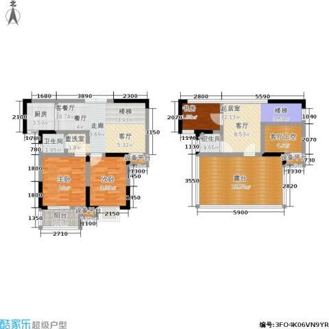 滨河御景3室1厅2卫1厨132.00㎡户型图