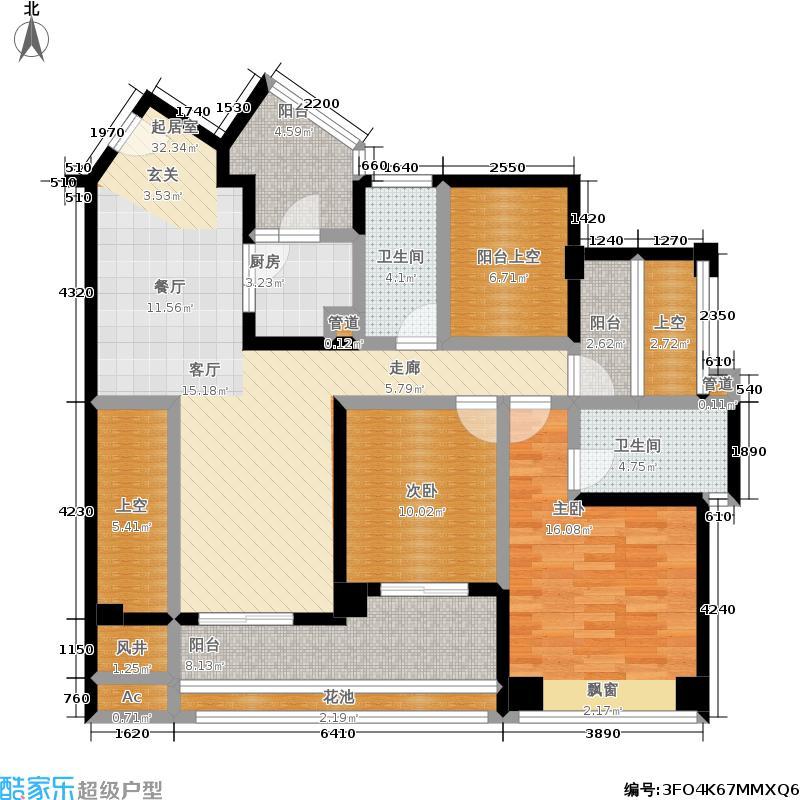 百合盛世126.79㎡4号楼1-B型2房2厅2卫126.79平米户型2室2厅2卫