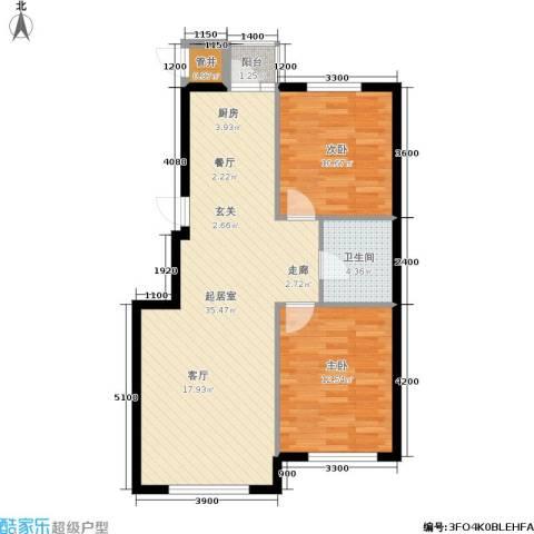 紫庭园2室0厅1卫0厨90.00㎡户型图