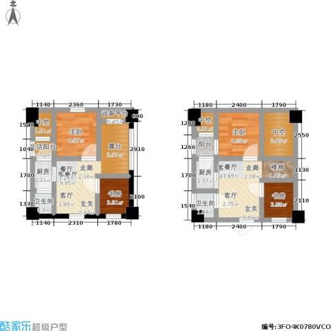 白金假日公寓4室2厅2卫2厨45.75㎡户型图