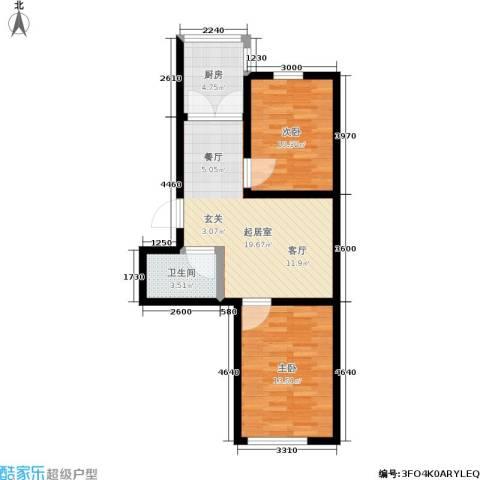 馨丽康城2室0厅1卫1厨59.00㎡户型图