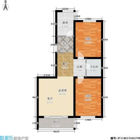 江山别院2室0厅1卫1厨91.00㎡户型图