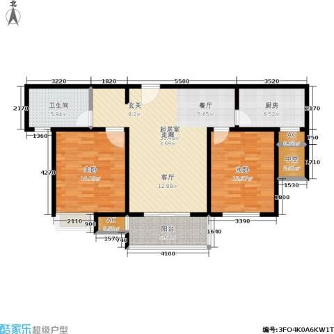石湖华城三期 华城豪庭2室0厅1卫1厨91.00㎡户型图