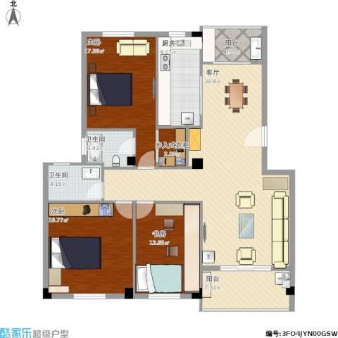 书苑小区3室1厅2卫1厨159.00㎡户型图