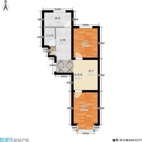 江山别院2室0厅1卫1厨66.00㎡户型图