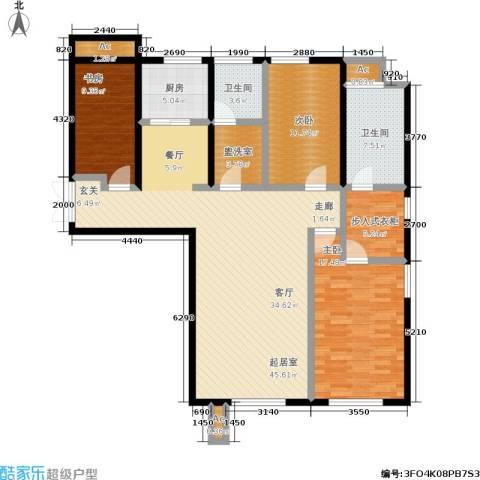 颐和香榭3室0厅2卫1厨128.00㎡户型图