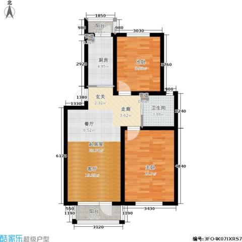 绿地老街坊三期 绿地国际花都2室0厅1卫1厨76.00㎡户型图