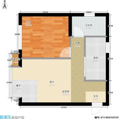 第一城B组团1室0厅1卫1厨50.00㎡户型图