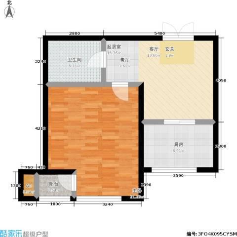 颐和香榭1室0厅1卫1厨58.00㎡户型图