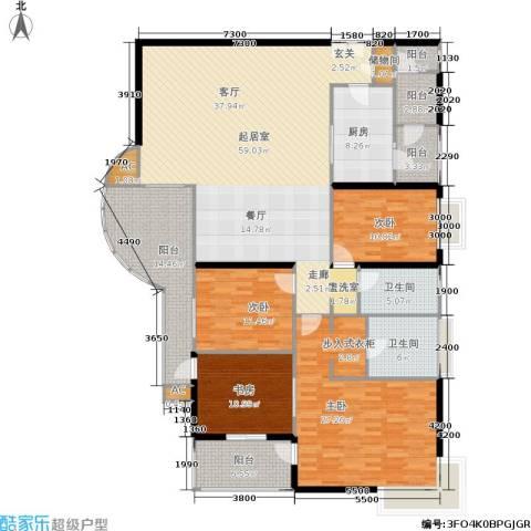 华侨城天鹅堡三期4室0厅2卫1厨190.00㎡户型图