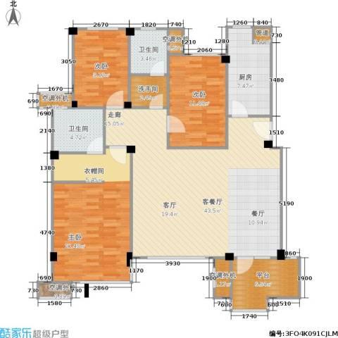 万科新榆公馆二期3室1厅2卫1厨155.00㎡户型图