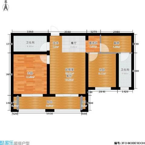 绿地老街坊三期 绿地国际花都2室0厅2卫1厨88.00㎡户型图