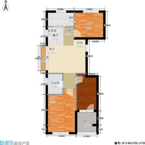 千缘・爱语城3室0厅1卫1厨90.00㎡户型图