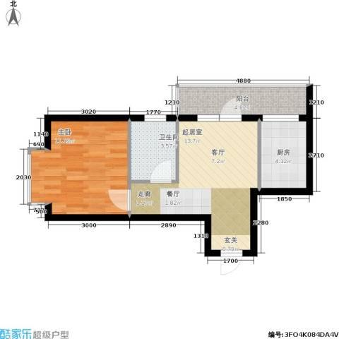 新干线花园1室0厅1卫1厨47.00㎡户型图