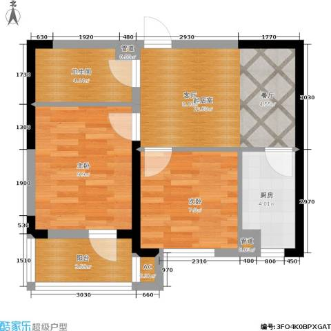 绿地老街坊三期 绿地国际花都2室0厅1卫1厨63.00㎡户型图
