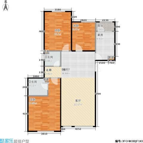 五里河城3室1厅2卫1厨140.00㎡户型图