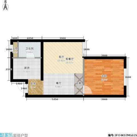 东方星海1室1厅1卫0厨52.00㎡户型图