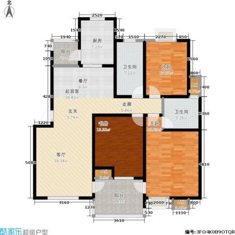 石湖华城三期 华城豪庭3室0厅2卫1厨131.00㎡户型图