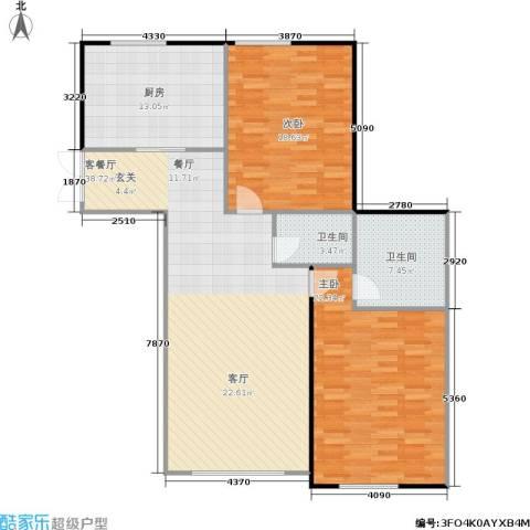 五里河城2室1厅2卫1厨138.00㎡户型图