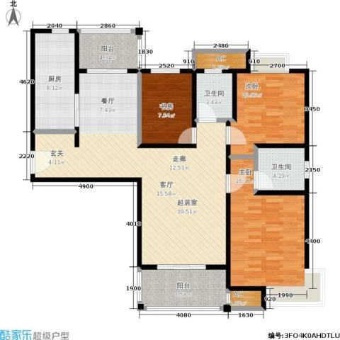 石湖华城三期 华城豪庭3室0厅2卫1厨119.00㎡户型图