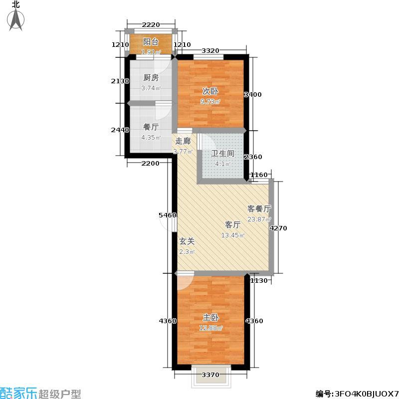福隆雅居户型2室1厅1卫1厨