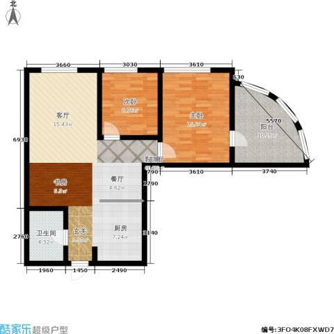 东方星海2室1厅1卫0厨90.00㎡户型图