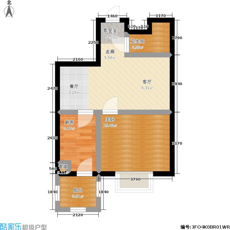 福隆雅居户型1室1厅1卫1厨