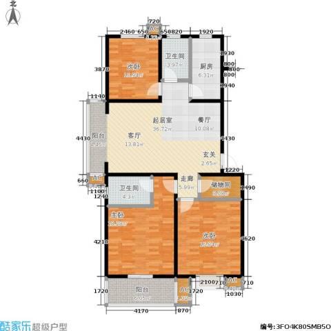 石桥润泽园3室0厅2卫1厨123.00㎡户型图