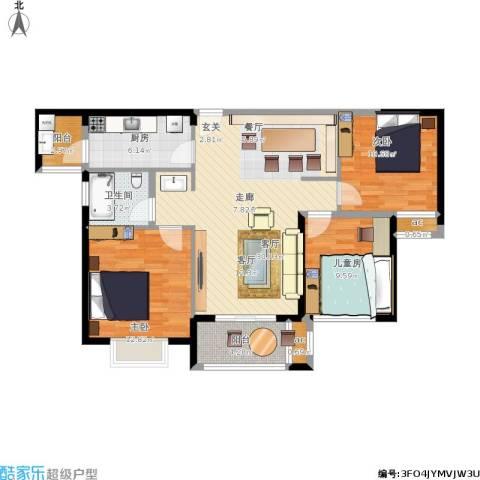 合景叠翠峰3室1厅1卫1厨115.00㎡户型图