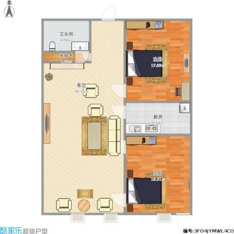 东方新天地花园2室1厅1卫1厨119.00㎡户型图