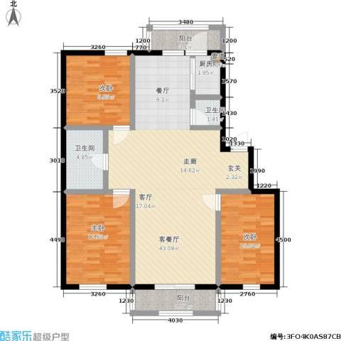 福隆雅居3室1厅2卫1厨132.00㎡户型图
