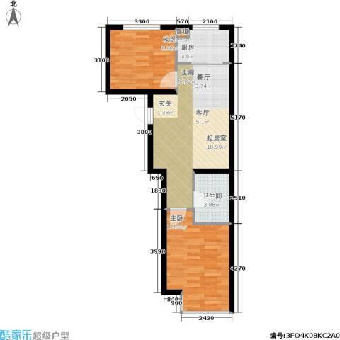 千缘・爱语城2室0厅1卫1厨70.00㎡户型图