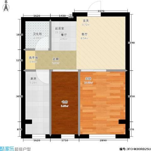千缘・爱语城2室0厅1卫1厨52.00㎡户型图
