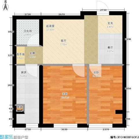 千缘・爱语城2室0厅1卫1厨61.00㎡户型图