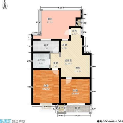 方正星光2室0厅1卫1厨84.02㎡户型图