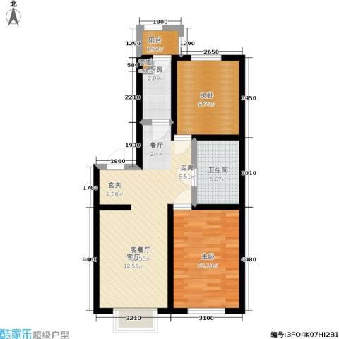 福隆雅居2室1厅1卫1厨77.00㎡户型图