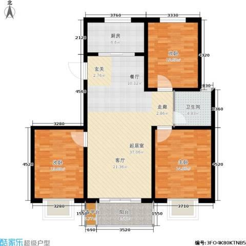 燕春星河国际3室0厅1卫1厨106.00㎡户型图