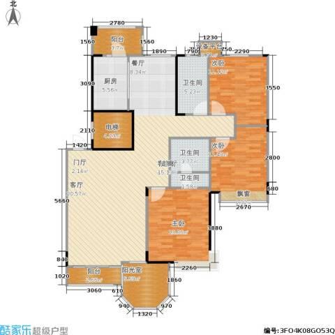 中远颐和丽园二期3室1厅3卫1厨130.00㎡户型图